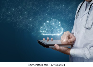 Doctor works with cloud storage on a mobile device.