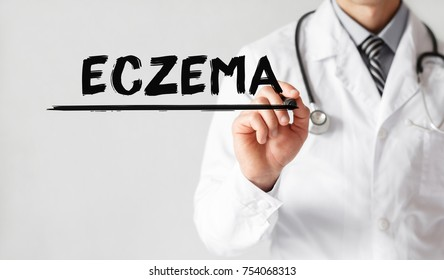 Doctor writing word ECZEMA with marker, Medical concept