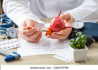 At doctors appointment physician shows to patient shape of prostate gland with focus on hand with organ. Scene explaining patient causes and localization of diseases of prostate, problems and signs
