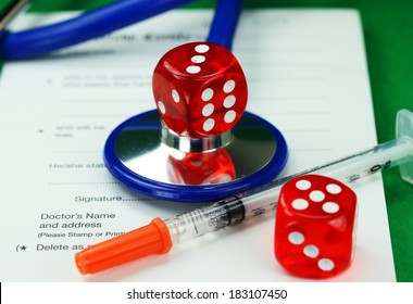 A Doctors desk with a dice placed on top of a blue stethoscope, with  another dice and insulin syringe all placed on a doctors sick certificate pad, asking the question, do you gamble with your health