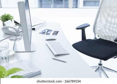 Doctor's desk in evening with no person