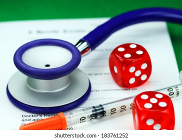 A Doctors desk with two dice dice placed next to a blue stethoscope, with an insulin syringe all placed on a doctors sick certificate pad, asking the question, do you gamble with your health