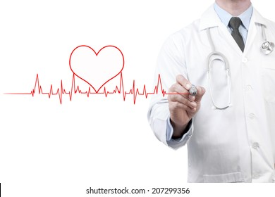 doctors drawing chart electrocadiogram (ECG) of heartbeat on virtual screen concept for medical diagnosis on white background