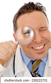 doctor's eye in the magnifying glass on the white background