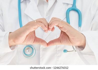 Doctor's hand made heart shape