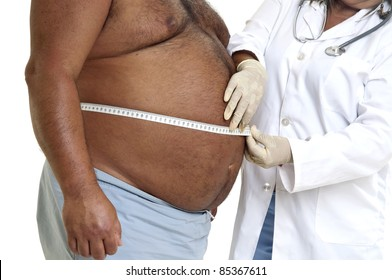 Doctor's hand with very fat male patient