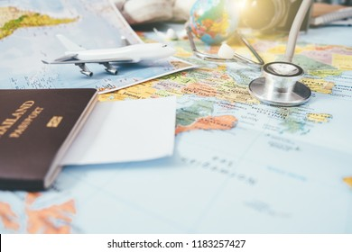 Doctor's medical stethoscope over healthcheck. Medical concept tourism travel care diseases healthy, close-up. Selective focus