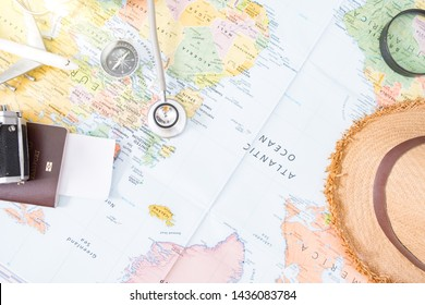Doctor's medical stethoscope over healthcheck,Medical concept tourism travel care diseases healthy,Selective focus.