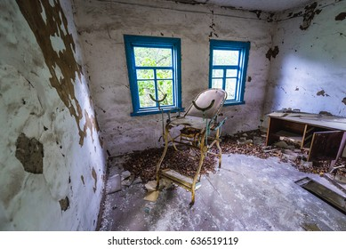 Doctor's office in Zymovyshche ghost village of Chernobyl Exclusion Zone, Ukraine