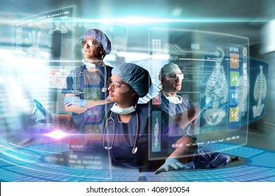 Doctors in a research station with digital  screens and keyboard