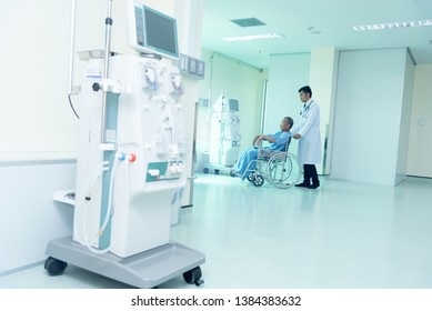 Doctors and sick people With advanced dialysis equipment in the hospital background for business