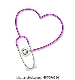Doctor's stethoscope in heart shape  lavender purple color isolated on white background with clipping path for medical health care, cardiovascular defect disease, world cancer day awareness concept