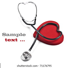 Doctor's stethoscope and red heart on a pure white background with space for text