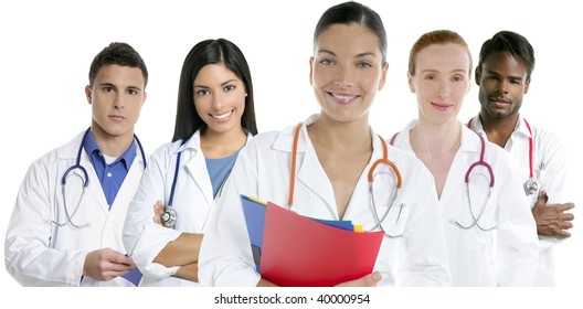 Doctors team group in a row on white background men and women doctor