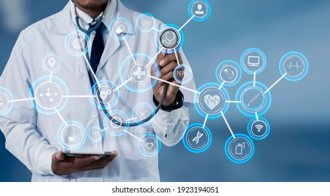 Doctors using stethoscope with digital medical interface icons, Technology healthcare And Medicine concept.