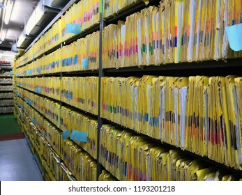Document control room in hospital for important documents.Abstract.Data file. Important file.Important file.Patient history.Medical records.
