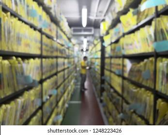ฺBlurred of Document control room in hospital for important documents.Abstract.Data file. Important file.Important file.Patient history.