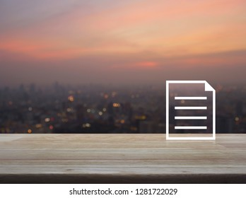 Document flat icon on wooden table over blur of cityscape on warm light sundown, Business communication concept