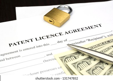 Document Form of patent licence agreement with lock and dollar money