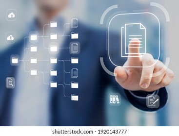 Document Management System (DMS) in addition to digitization and process automation to efficiently manage files, knowledge and documentation in enterprise with ERP. Corporate business technology - Shutterstock ID 1920143777