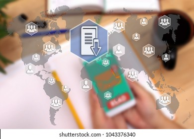 Document management system. DSM on the touch screen to the network, on office blur background.Concept of data management system  and document management system ,DMS
