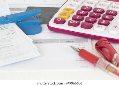 document monthly and slips of credit card for check payment to bank