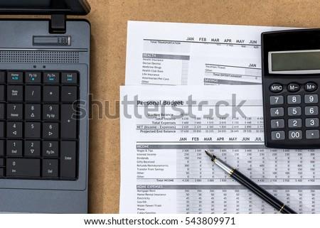 document personal budget laptop calculator river stock photo edit