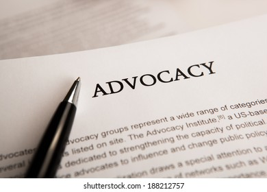 document with the title of advocacy closeup
