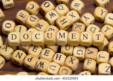 DOCUMENT word written on wood block