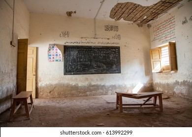 Documentary image. Thatta, Sindh, Pakistan - September 08 2015. Government School Class room poor condition.