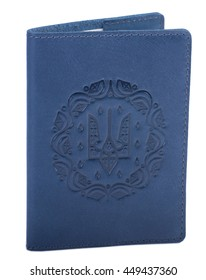 For documents. blue  Passport cover, excellent quality leather, embossed, handmade.