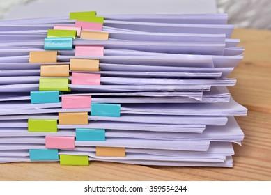 documents on wood Background