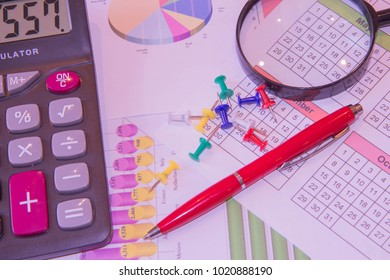 The documents painted colorful graphics. Graphics calculator, magnifier and pen