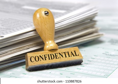 documents with rubber stamp marked with confidential