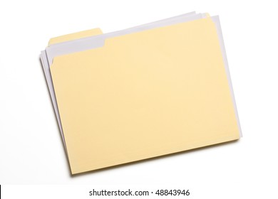 Documents stuffed in Manila folder isolated on white.