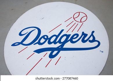 Dodger baseball logo, Dodger Stadium, Los Angeles, CA on October 12, 2008