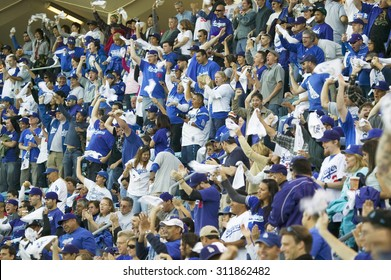 Dodger fans cheering during National League Championship Series (NLCS), Dodger Stadium, Los Angeles, CA on October 12, 2008