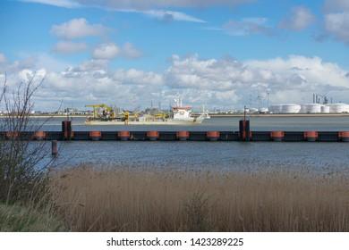 Doel, Belgium 17 March 2019, A Trailing Suction Hopper Dredger TSHD called the Sebastiano Cobota near the port of Antwerp