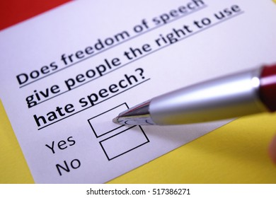Does freedom of speech give people the right to use hate speech? Yes