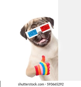 Dog  in the 3d glasses showing thumbs up behind white banner. isolated on white background