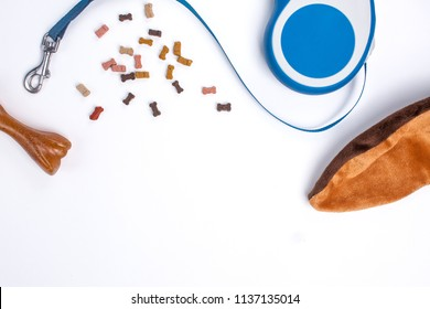 Dog accessories, toy and food on a white background top view