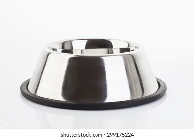 Dog bowl on white background