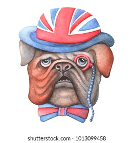 A dog of British Bulldog breed wearing a hat. Symbols of England and the British flag. Illustration for printing on clothes and postcards