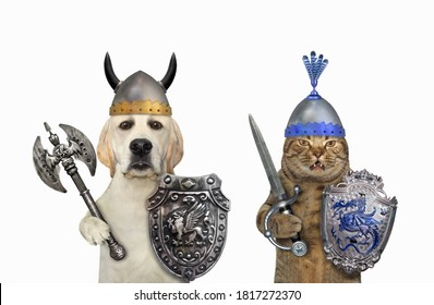 A dog with a cat are knights armed with shields, helmets, an sword and a two sided axe. White background. Isolated.