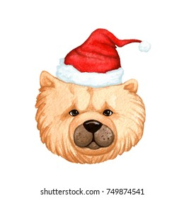 Dog with a Christmas hat, watercolor illustration