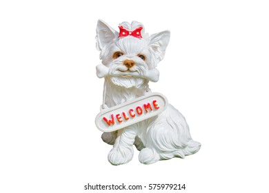 Dog doll isolated on white background, label welcome speech.