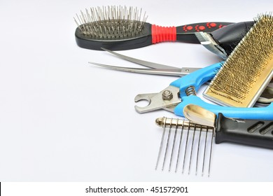 Dog equipment for grooming on white background