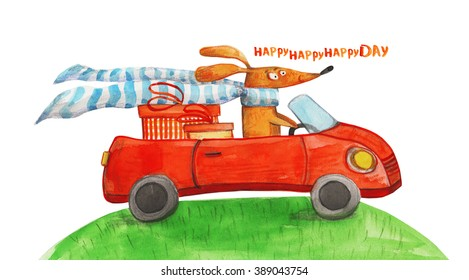 Dog with gifts in car. Happy day. Watercolor illustration. Hand drawing