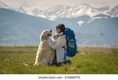 Dog girl connection friendship bond concept