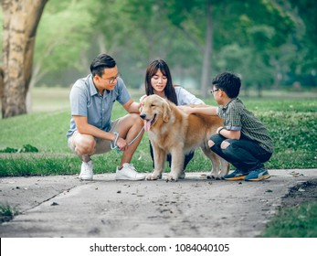dog golden retriever playing with Asian family in park